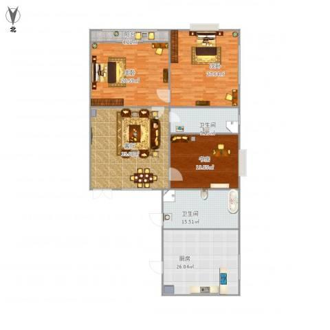 金梦园小区3室1厅2卫1厨214.00㎡户型图