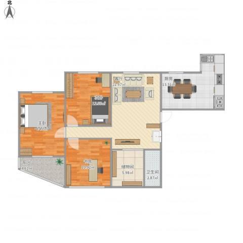 水星阁3室1厅1卫1厨116.00㎡户型图