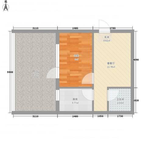 文润金宸1室1厅1卫1厨62.00㎡户型图