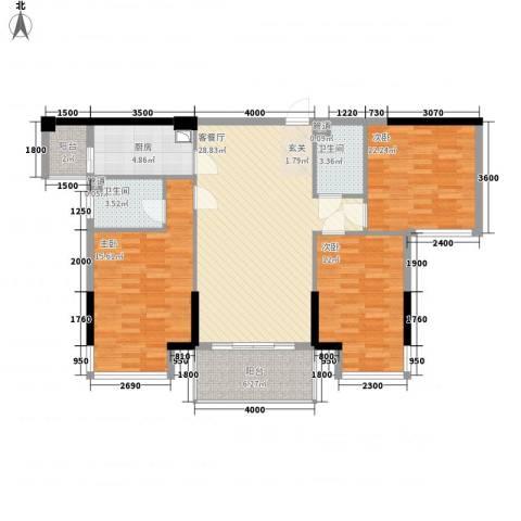 铂金汉宫3室1厅2卫1厨119.00㎡户型图