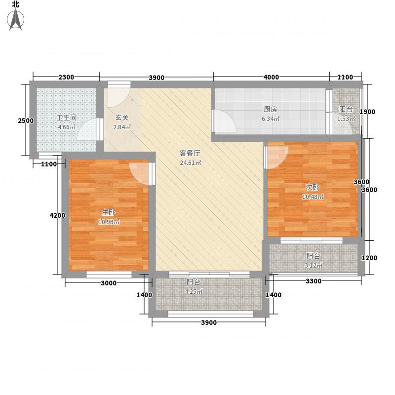 华飞天波兰亭8.18㎡C户型2室2厅1卫