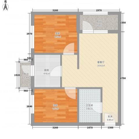 文润金宸2室1厅1卫1厨65.00㎡户型图