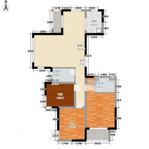 世纪城・江南3室1厅2卫1厨139.00㎡户型图