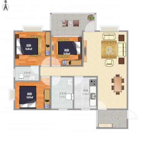 华宇阳光四季C43室1厅2卫1厨99.00㎡户型图