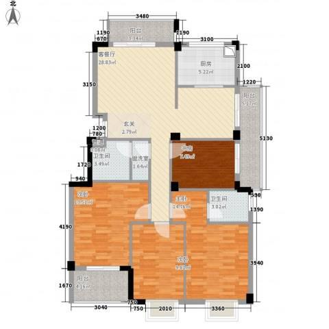 东城国际二期4室2厅2卫1厨143.00㎡户型图