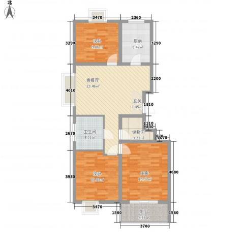 安泰・诚品3室1厅1卫1厨115.00㎡户型图