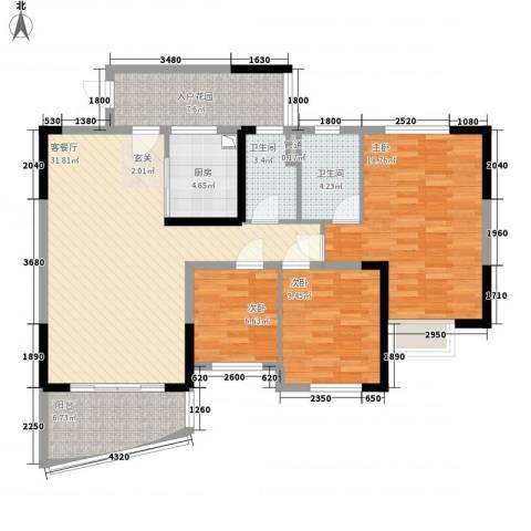 碧桂园・东江凤凰城3室1厅2卫1厨116.00㎡户型图