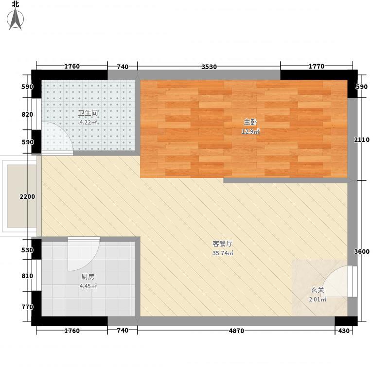华飞天波兰亭61.71㎡D户型1室2厅1卫