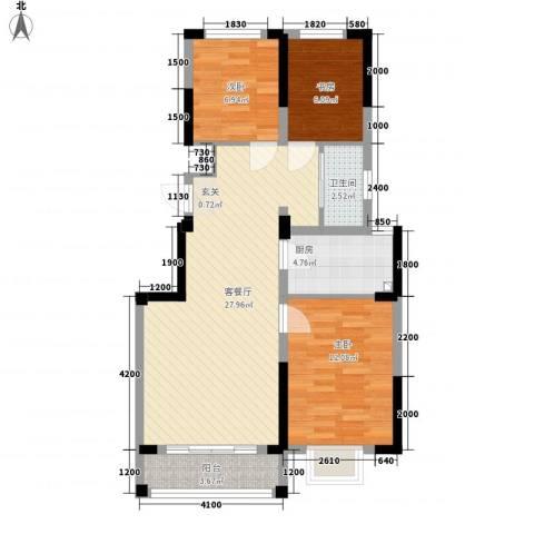 渤海之星3室1厅1卫1厨92.00㎡户型图