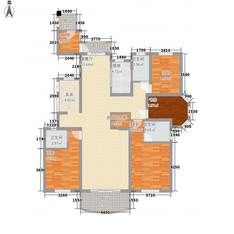旺江壹品186.00㎡2#东边户B2户型5室2厅3卫
