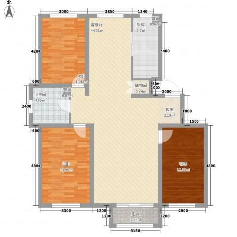 锦山庄园3室1厅1卫1厨121.00㎡户型图