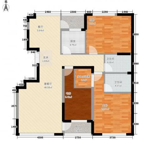 华亿红府3室1厅2卫1厨141.00㎡户型图