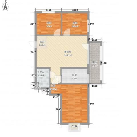 开元溪府3室1厅1卫1厨104.00㎡户型图