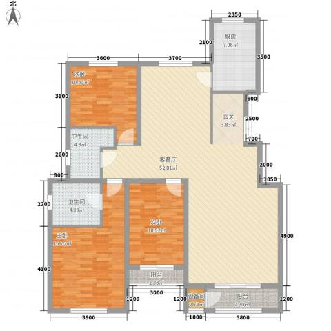 锦山庄园3室1厅2卫1厨138.00㎡户型图