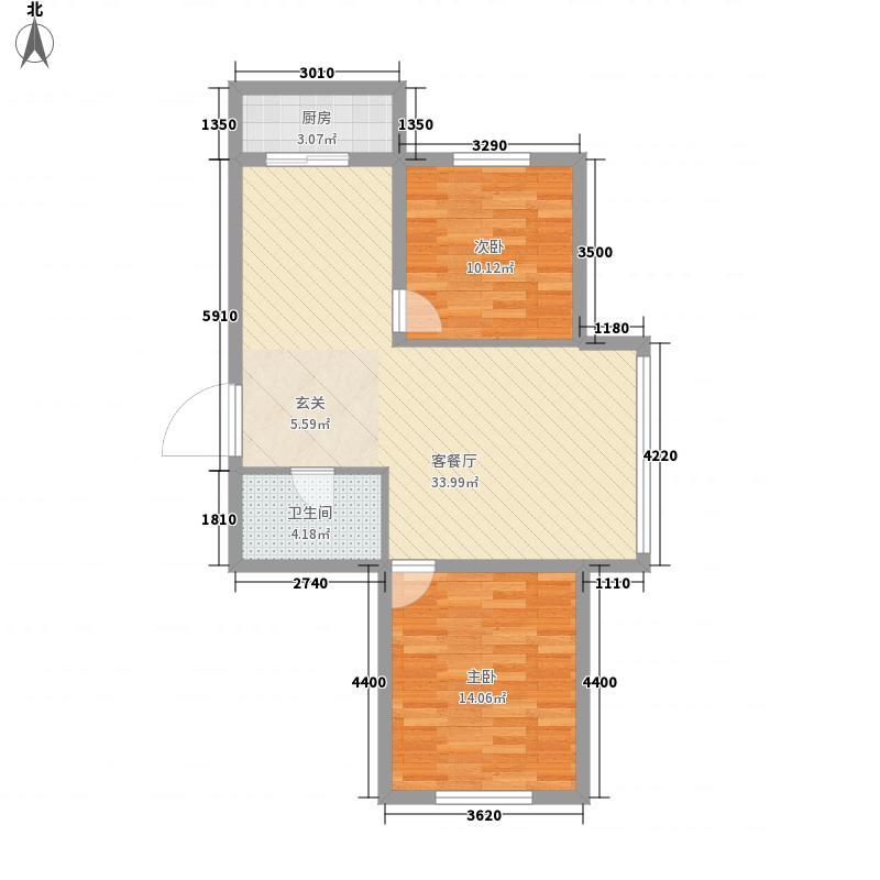 绿丹江苑户型2室2厅1卫