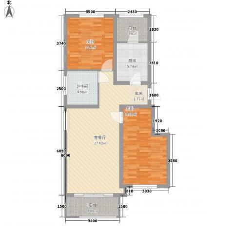 欣豪尚品2室1厅1卫1厨72.49㎡户型图