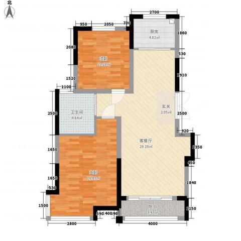 渤海之星2室1厅1卫1厨98.00㎡户型图