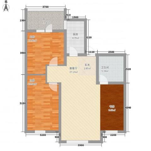 广厦新城2室1厅1卫1厨78.09㎡户型图