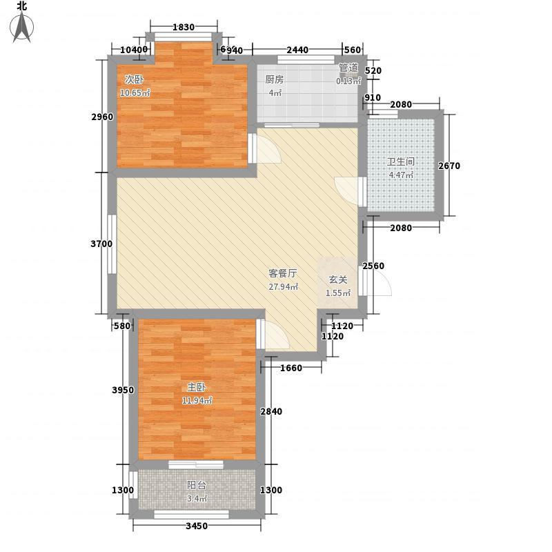 海普・凤凰城128.58㎡H户型2室2厅1卫1厨