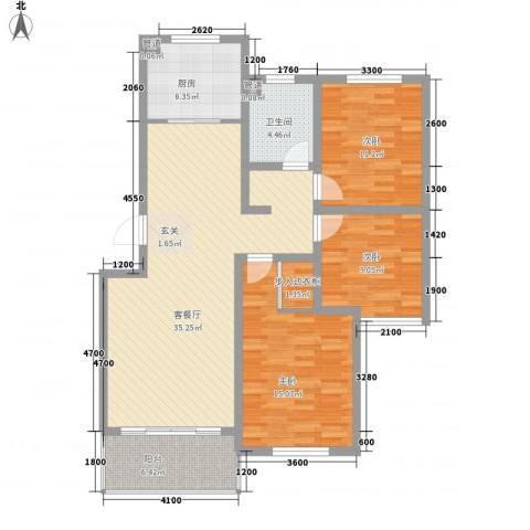 海信盈城3室1厅1卫1厨128.00㎡户型图