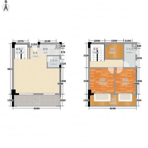 五米阳光二期2室1厅2卫0厨86.23㎡户型图