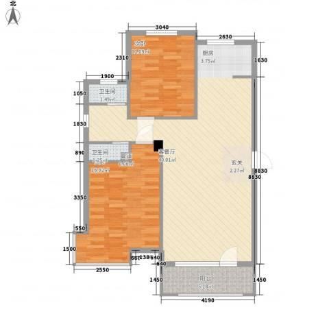 港湾社区2室1厅2卫0厨104.00㎡户型图