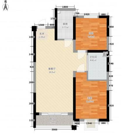 渤海之星2室1厅1卫1厨90.00㎡户型图
