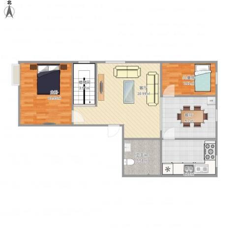 蓝郡.HOUSE2室2厅1卫1厨95.00㎡户型图