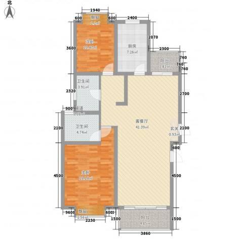 海信盈城2室1厅2卫1厨133.00㎡户型图