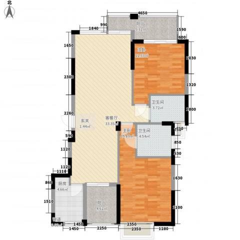 比华利山庄2室1厅2卫1厨118.00㎡户型图