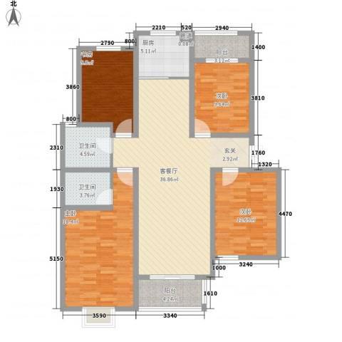 汇龙国际花园4室1厅2卫1厨156.00㎡户型图