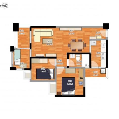 萝岗奥园广场3室1厅1卫1厨82.00㎡户型图