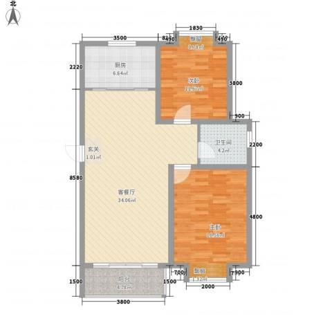 海信盈城2室1厅1卫1厨110.00㎡户型图