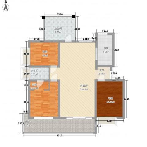 宝恒水木清华3室1厅2卫1厨122.00㎡户型图