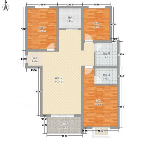 米苏阳光3室1厅2卫1厨125.00㎡户型图