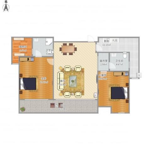 步阳御江金都2室2厅2卫1厨150.00㎡户型图