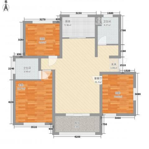 康桥郦湾3室1厅2卫1厨121.00㎡户型图