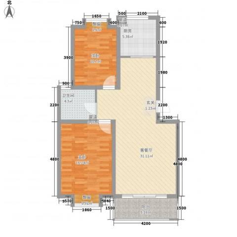 海信盈城2室1厅1卫1厨104.00㎡户型图