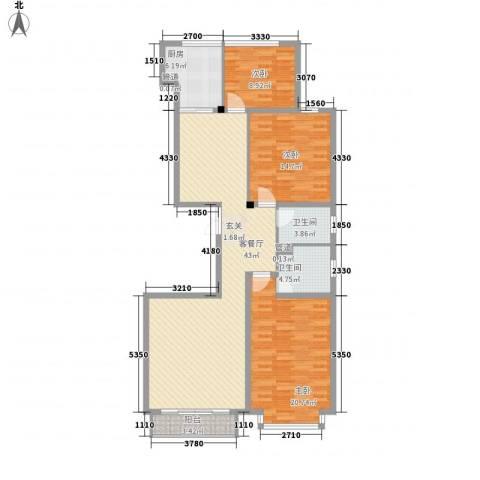 辰憬家园3室1厅2卫1厨137.00㎡户型图