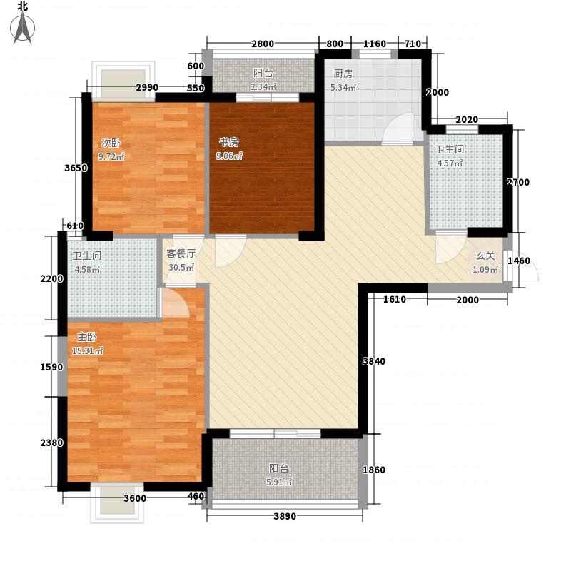 万基国际广场124.25㎡7、8号楼B1户型3室2厅2卫1厨