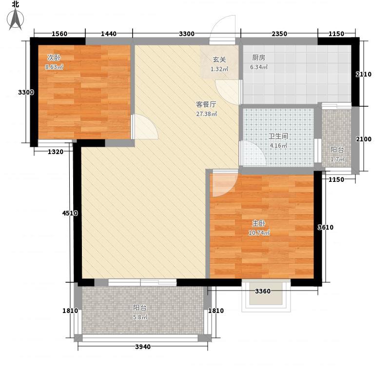 万基国际广场87.61㎡7、8号楼C2户型2室2厅1卫1厨