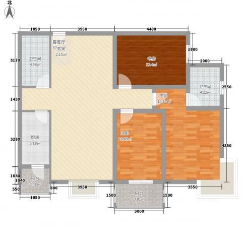 御庭华府3室1厅2卫1厨138.00㎡户型图