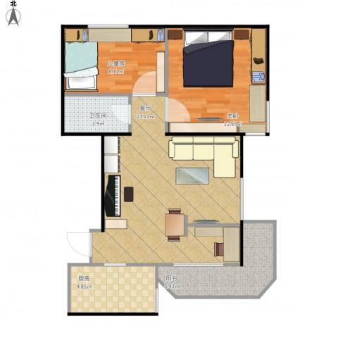 望京花园西区2室1厅1卫1厨77.00㎡户型图