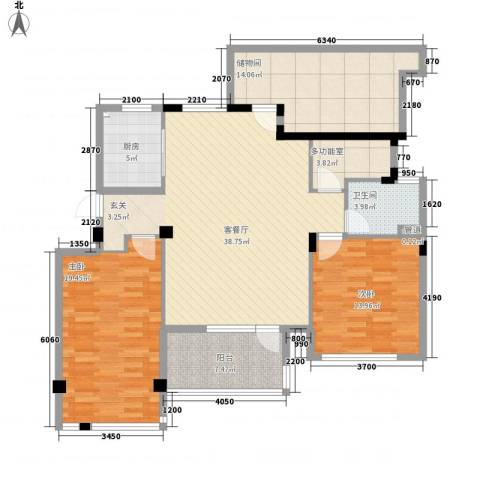 万科假日风景2室1厅1卫1厨106.61㎡户型图