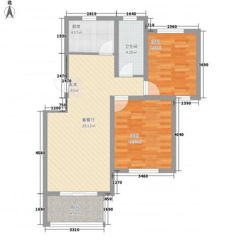 翠湖天地2室1厅1卫1厨86.00㎡户型图
