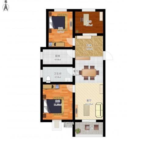 嵛景华城3室1厅1卫1厨98.00㎡户型图