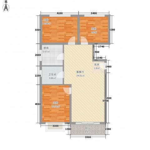 西京府3室1厅1卫1厨118.00㎡户型图