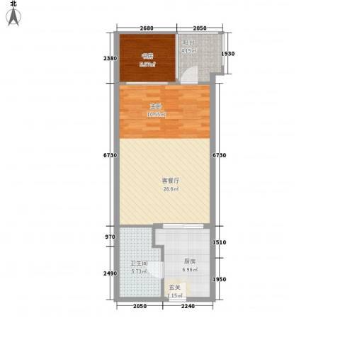 圆梦园1室1厅1卫1厨57.00㎡户型图