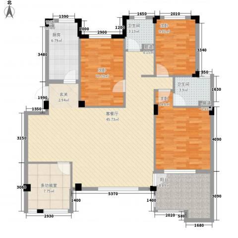 万科假日风景3室1厅2卫1厨131.00㎡户型图