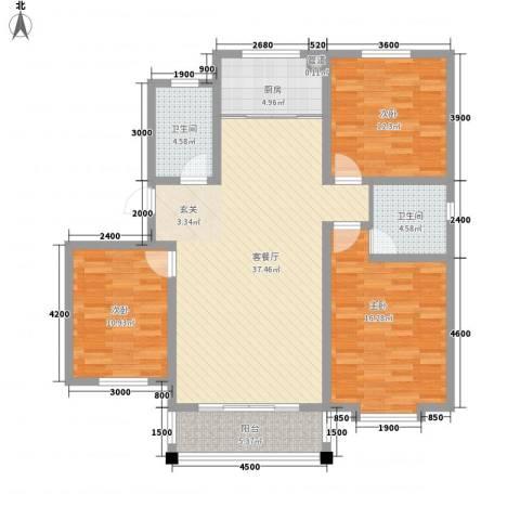 米苏阳光3室1厅2卫1厨96.57㎡户型图
